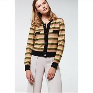 Aldomartins Striped Button Up Cropped Cardigan XS